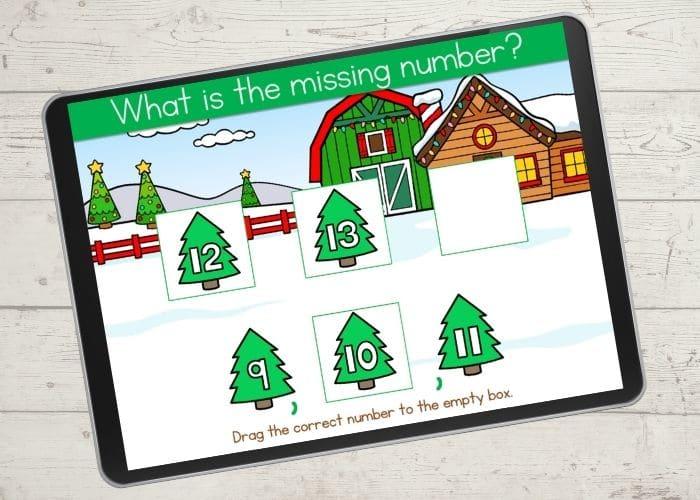 Digital Christmas counting game for Kindergarten.