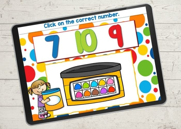 Screenshot of a play dough ten frame for the number 10.