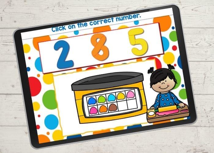 Self checking play dough themed ten-frame game.