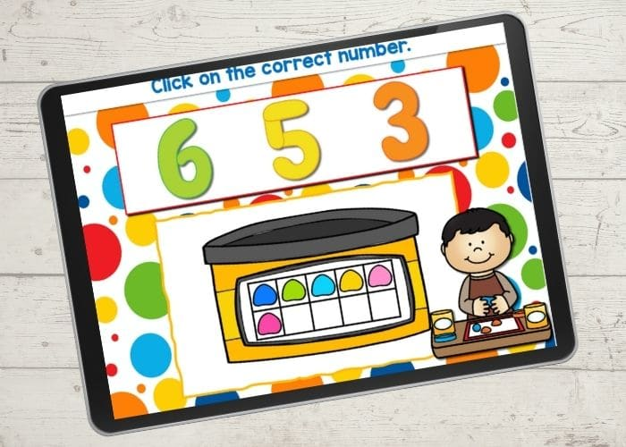 Learning to count with a free digital ten frame game.