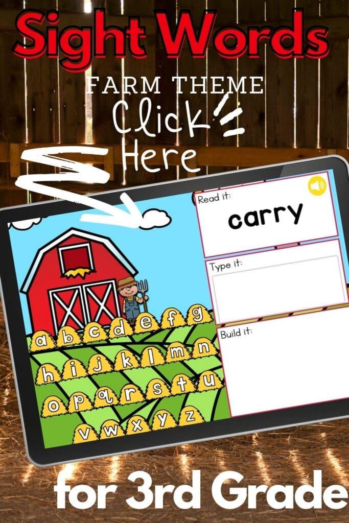 Third Grade Farm Theme Sight Words Activity
