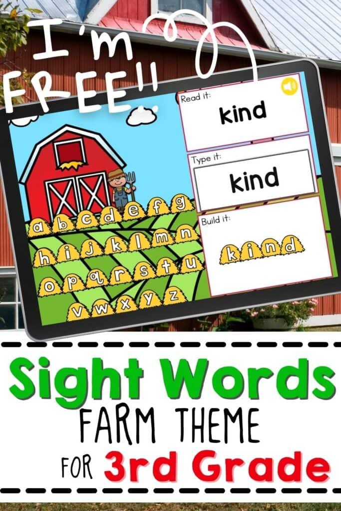 Free Farm Theme Sight Words Activity for Third Grade