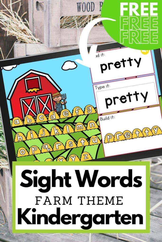 Free Farm Theme Kindergarten Sight Words Digital Activity