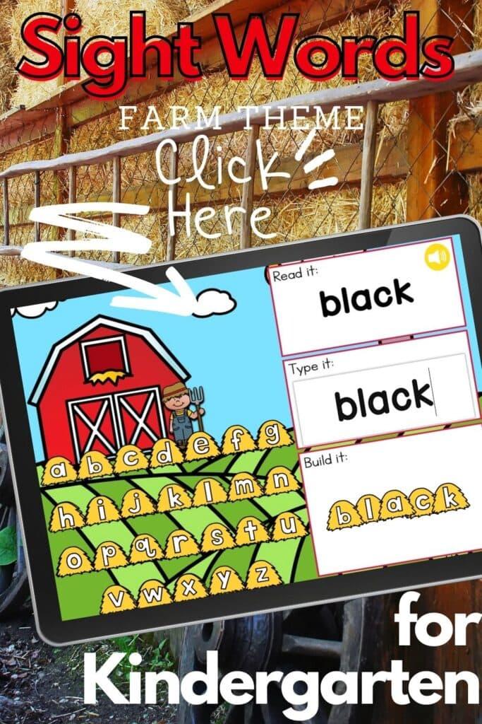 Free Farm Theme Sight Words Digital Activity for Kindergarten