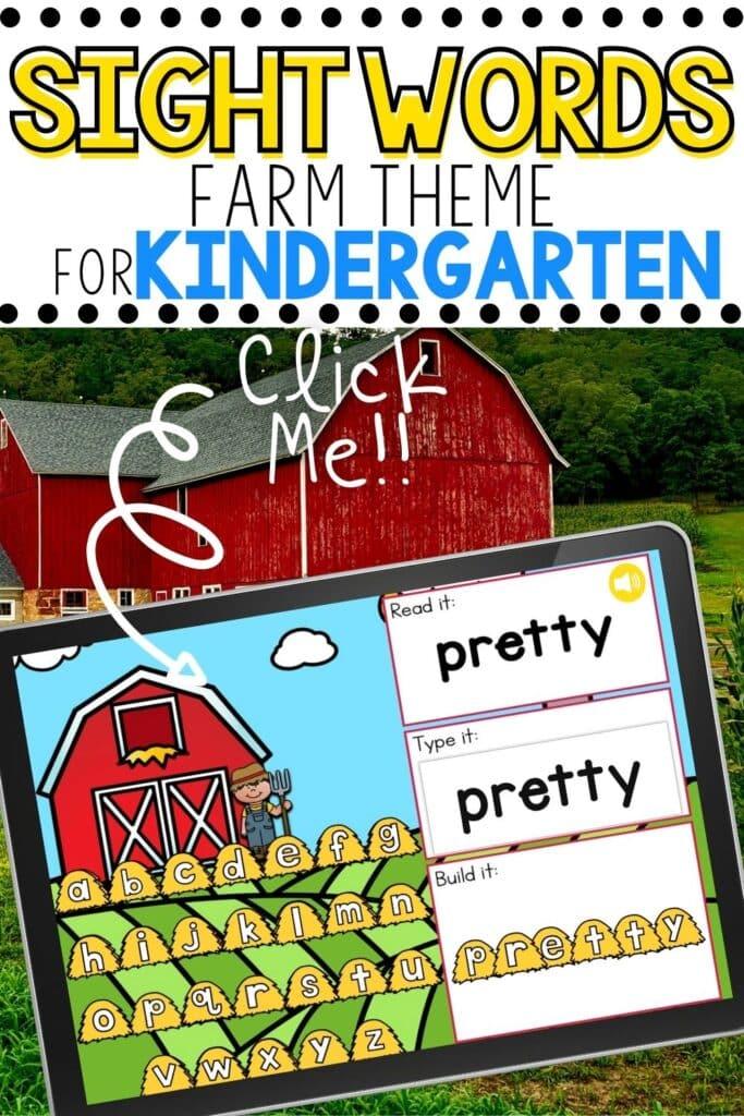 Farm Theme Sight Words for Kindergarten