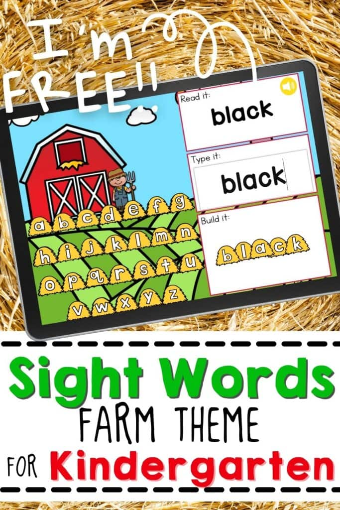 Free Farm Theme Sight Words Activity for Kindergarten
