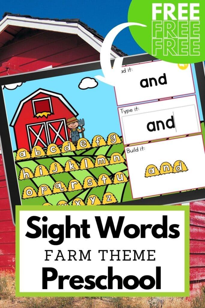 Free Farm Theme Sight Words Digital Activity