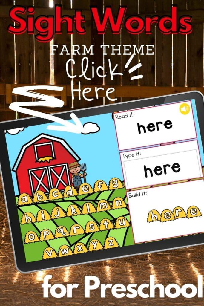 Farm Theme Sight Words Activity for Preschoolers