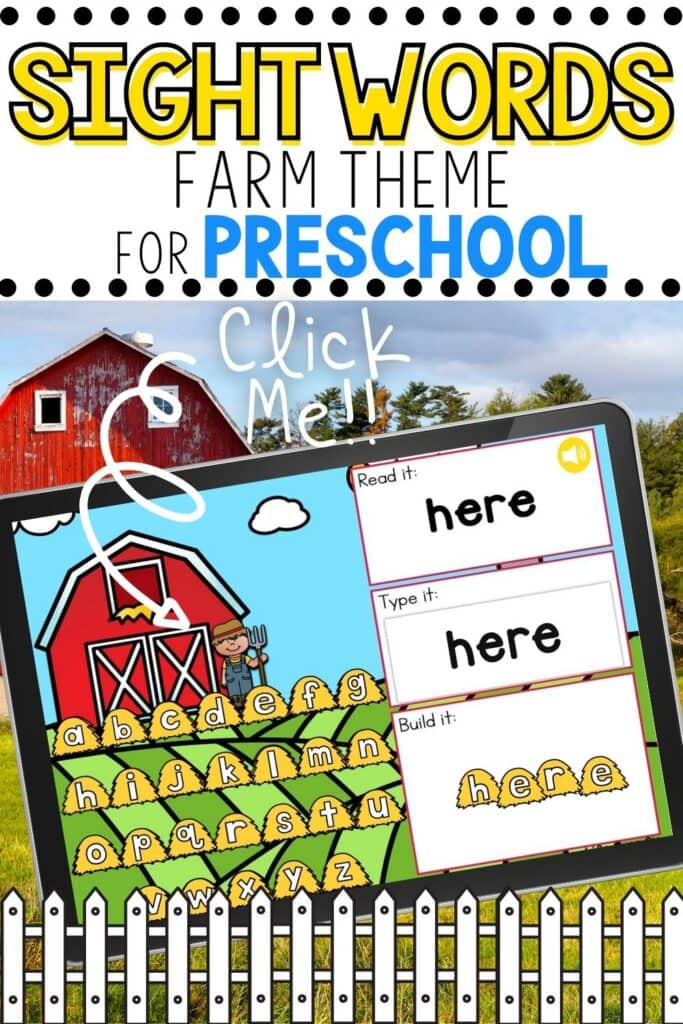 Digital Farm Theme Sight Words Activity for Preschool