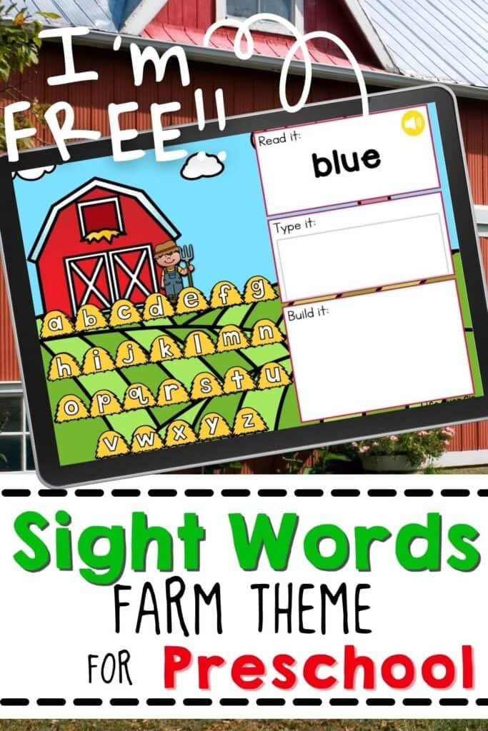 Sight Words Farm Theme for Preschool
