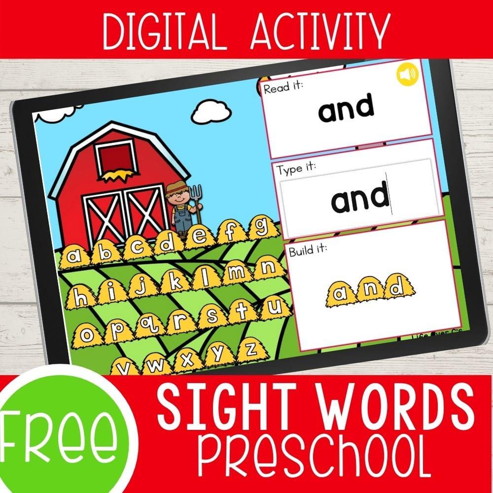 farm theme preschool sight words prek sight words for farm theme
