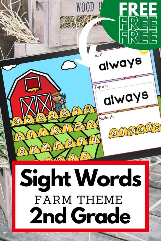 Free Farm Theme Sight Words Digital Activity for Second Grade