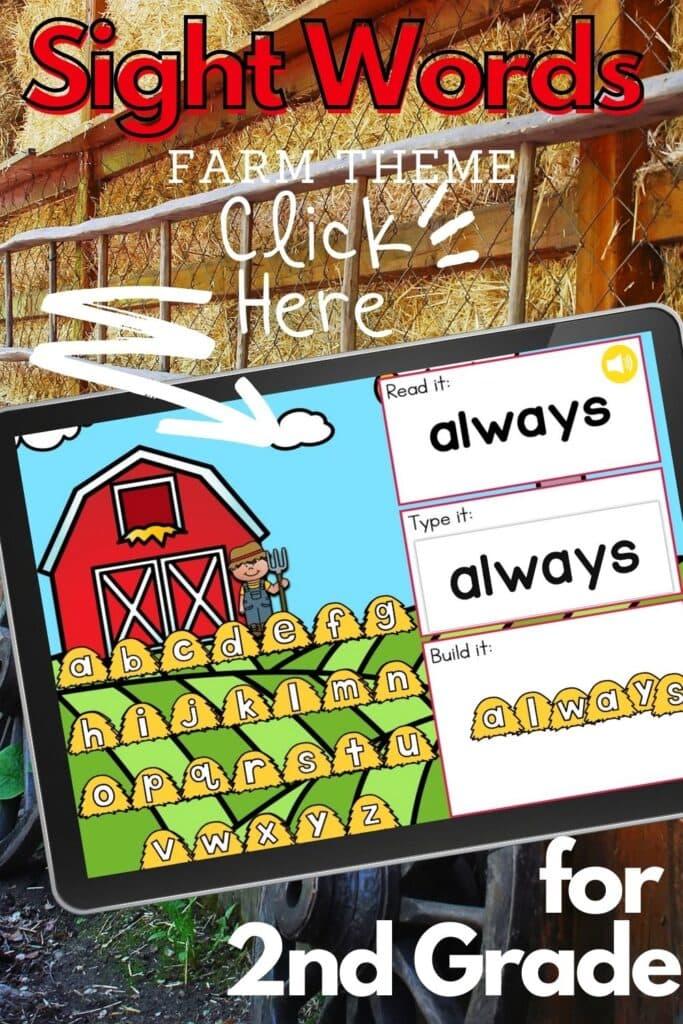 Farm Theme Sight Words Digital Activity for Second Grade