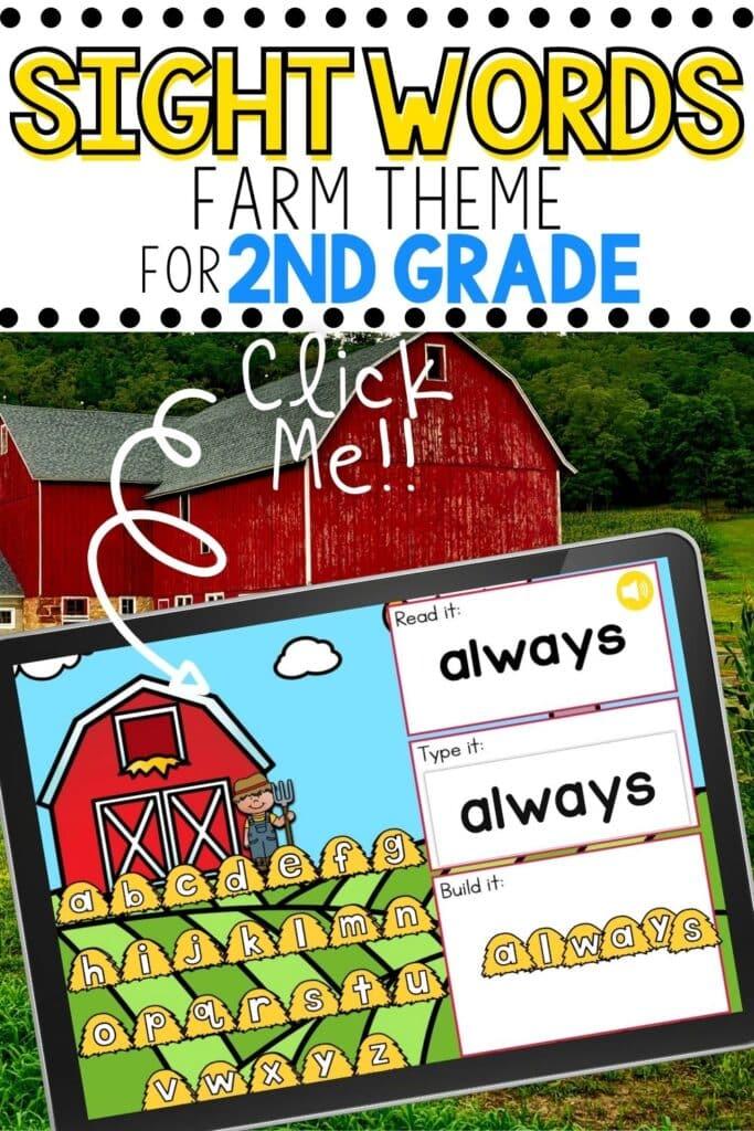 Farm Theme Sight Words Activity for Second Grade