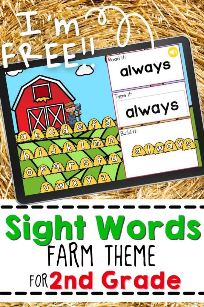 Free Farm Theme Sight Words Digital Activity for 2nd Grade