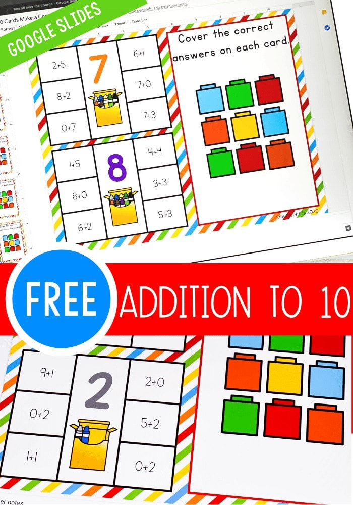 Free Google Slides Addition to 10 kindergarten math activity. Use Google Slides to practice addition to 10 at home or at school with this free activity!