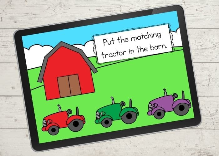 The Barn and Tractor Color Matching Activities digital slide for the color red.