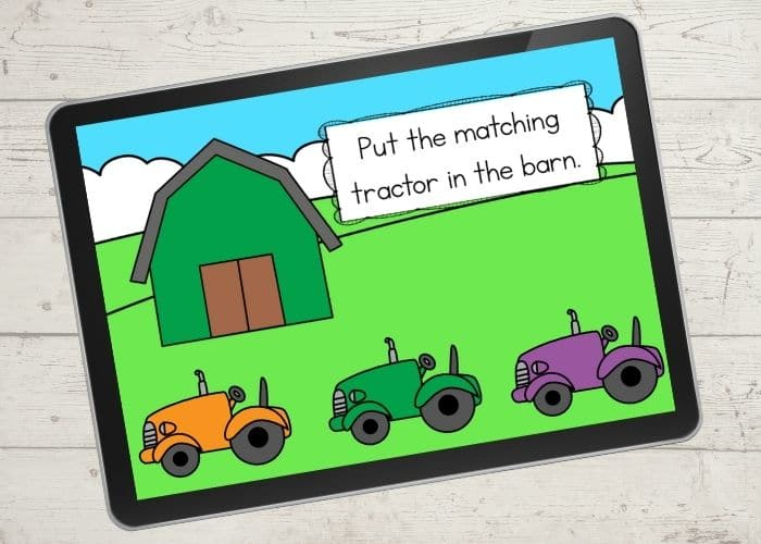 The Barn and Tractor Color Matching Activities digital slide for the color green.