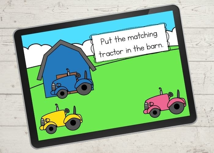 The Barn and Tractor Color Matching Activities digital slide for the color blue.