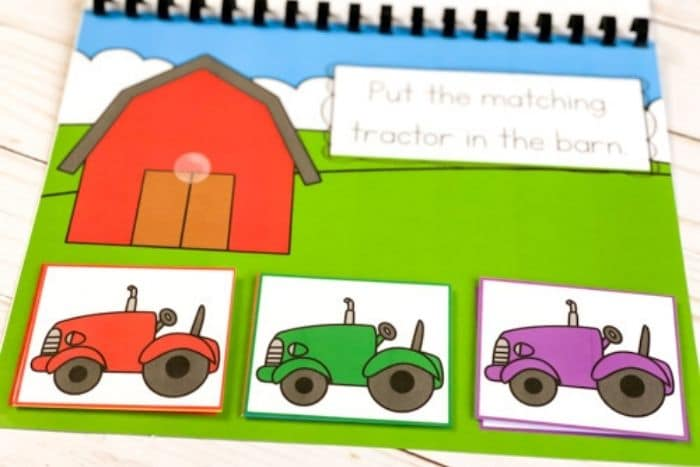 The Farm Theme Color Matching Activities printed out.