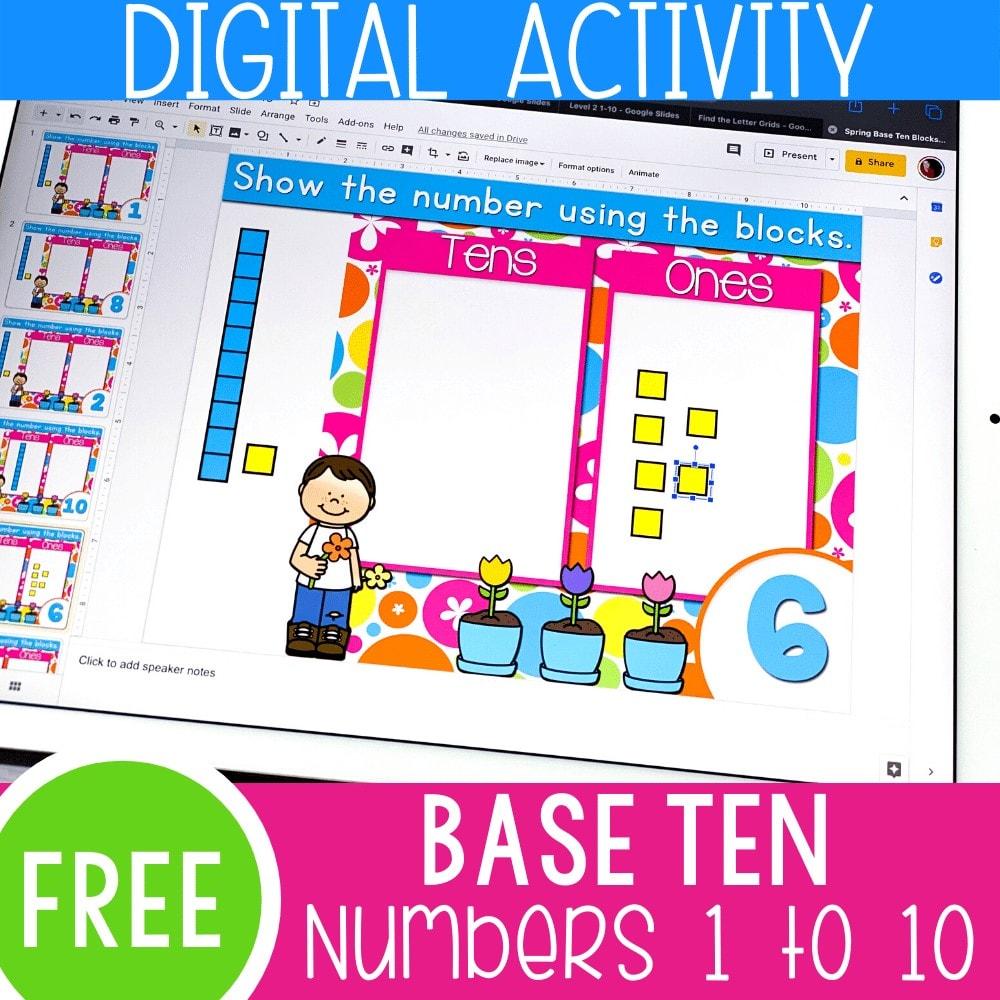 Free digital base ten activity for kindergarten