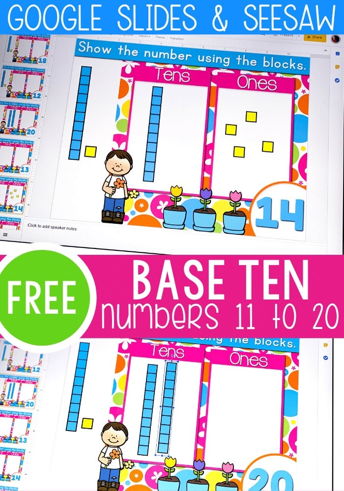 Base ten numbers 11-20 Google Slides and Seesaw free digital activity