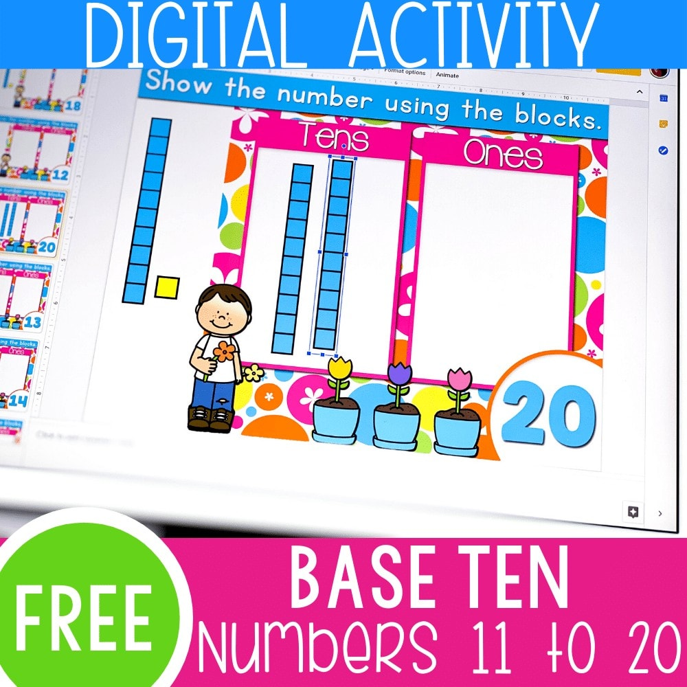 Digital activity base ten blocks numbers 11-20