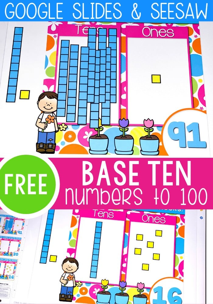Base ten digital math activity numbers to 100