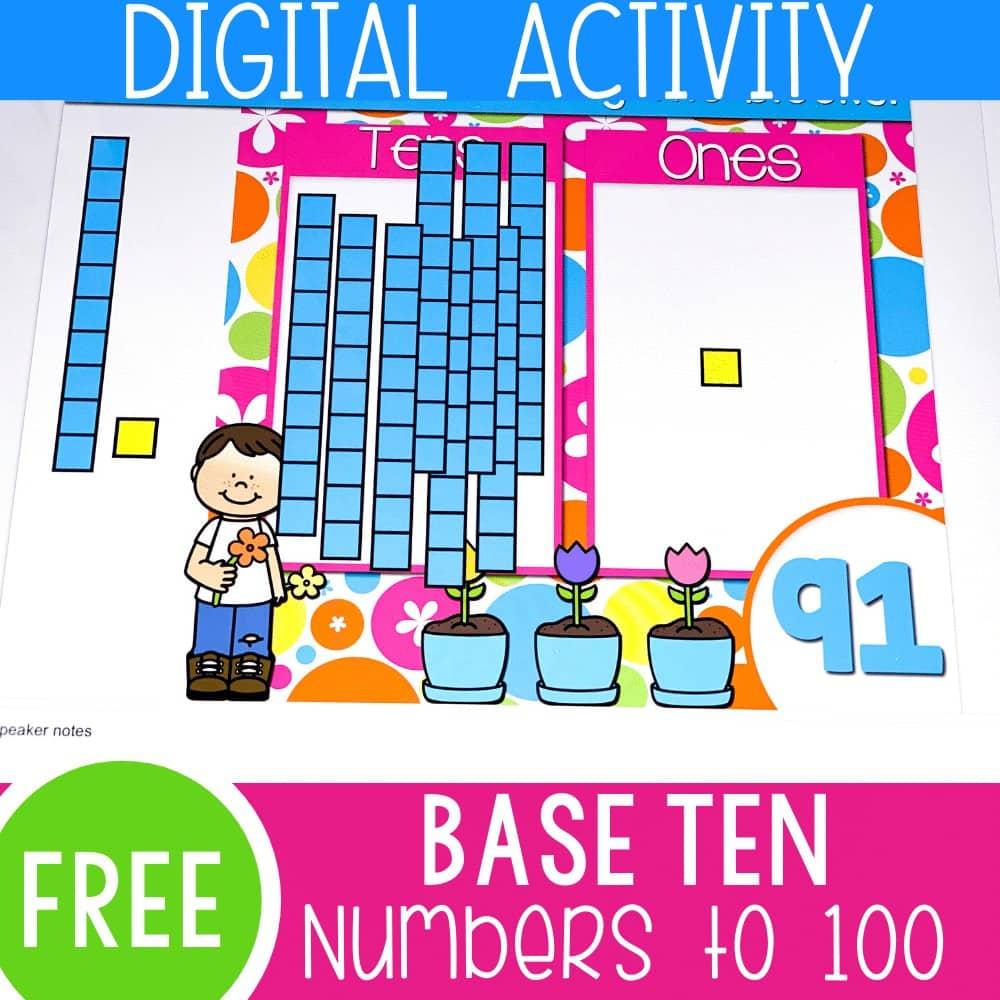 Base ten digital activity numbers to 100