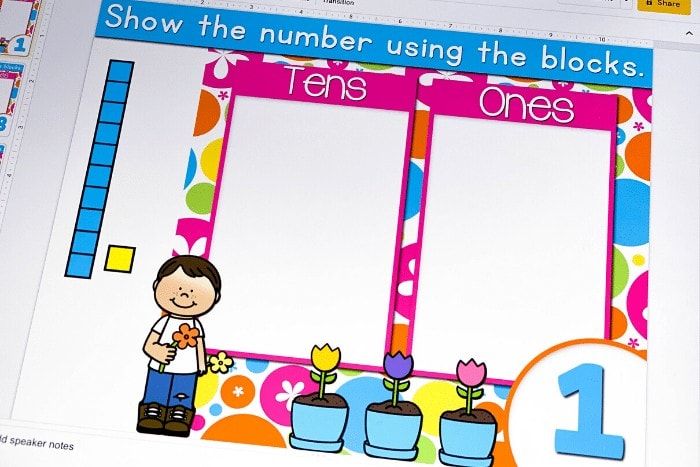 picture of iPad showing base ten blocks and the number 1