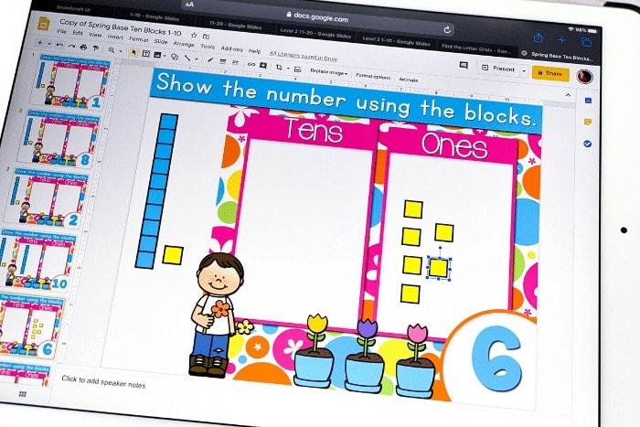 Free digital base ten blocks math manipulatives for building numbers 1-10