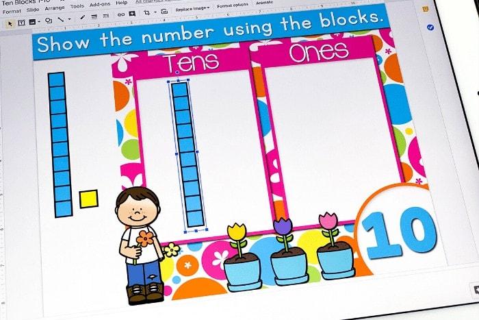 base ten blocks Google Slides and Seesaw math activity place value