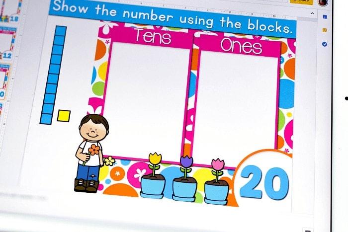 Base ten blocks build a number slide shown for 20