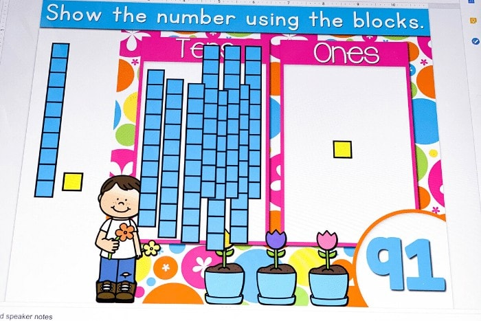 Base ten number building Google Slides and Seesaw activity