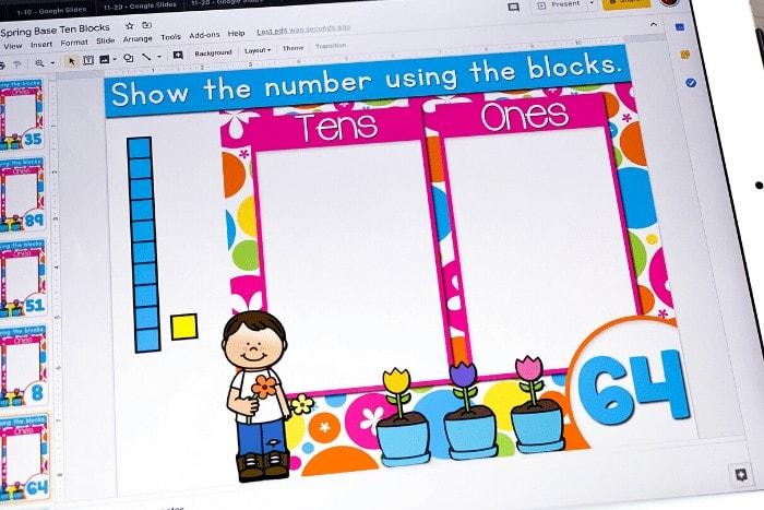 Base ten digital activity for kindergarten math
