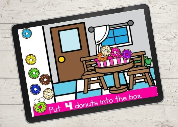 The Digital Counting 1-10 Preschool Donut Activities slide with for donuts in the donut box.