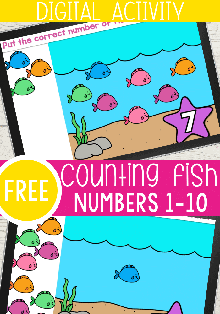 Counting activity for kids with a fish theme.