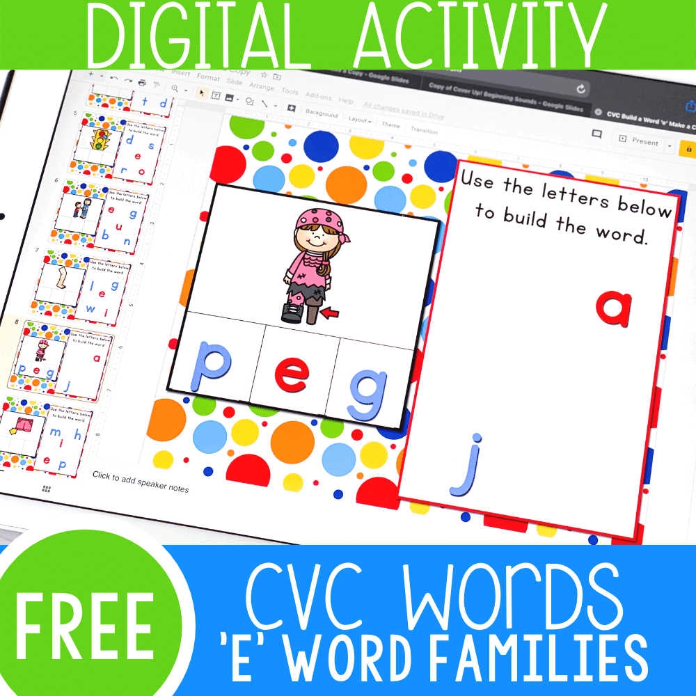 CVC words 'E' word families shows digital Google Slide with picture of a girl with a peg leg. Letters spell p-e-g