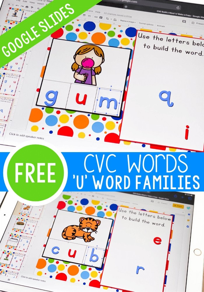 Try these fun CVC word family 'letter magnet' word building activities with your kindergarteners. They will love using Google slides to create CVC words and work on their beginning reading skills.