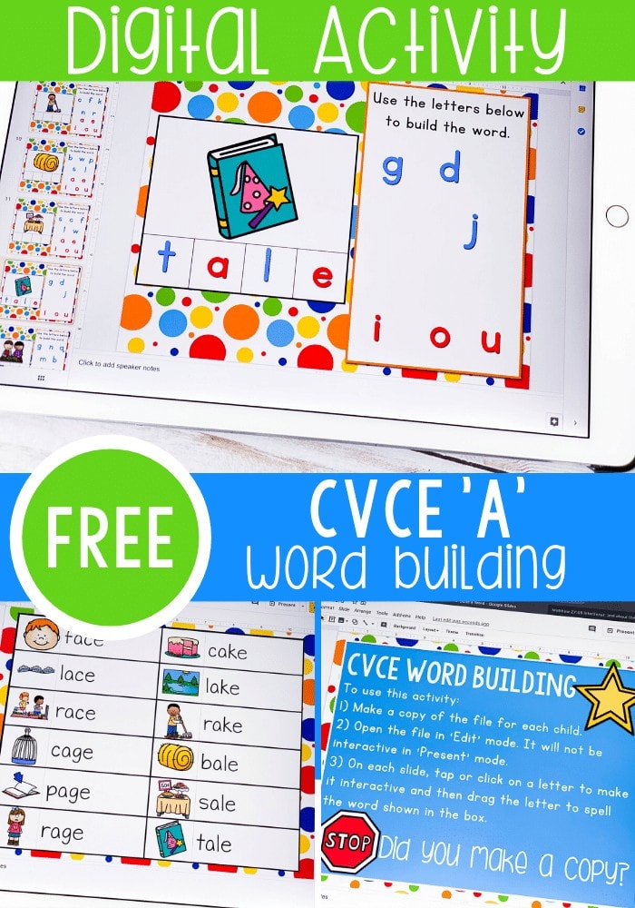 Free Google Slides and Seesaw digital activity for CVCe word building for the 'a' word family. Learn about Magic e through technology by using this fun digital literacy activity for kindergarten. Perfect for literacy centers, distance learning and homeschool.