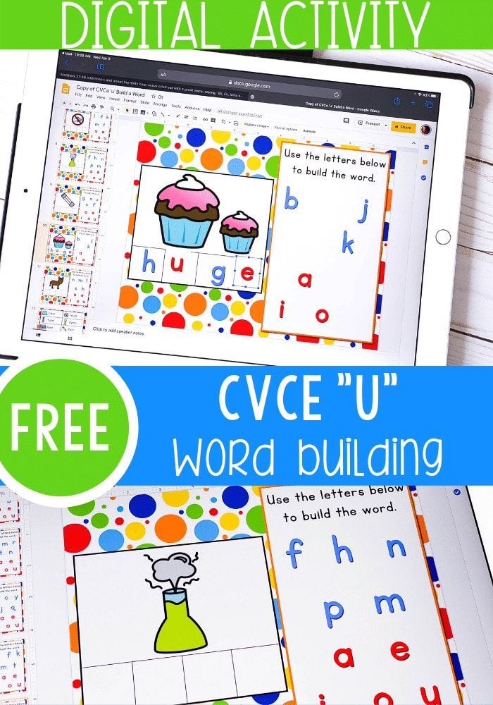 Free Long U CVCE words activities for kindergarten. Use Google Slides and Seesaw activities to engage your kids in learning to read in your kindergarten math centers, distance learning and homeschool.