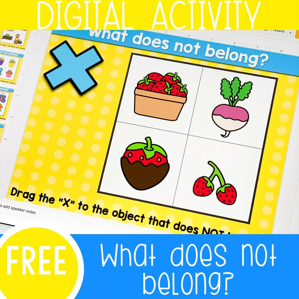 """Free visual discrimination """"What does not belong?"""" activity for kindergarten and preschool. Kids will choose the spring theme picture that does not match in this fun Google Slides and Seesaw digital activity for kindergarten."""