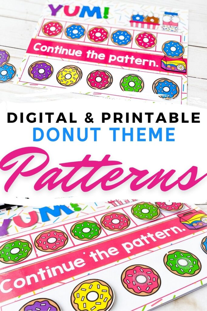 Digital and Printable Donut Theme Patterns Activity