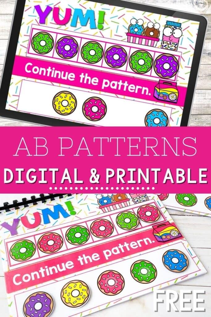 Free Donut AB Patterns Digital & Printable Activity
