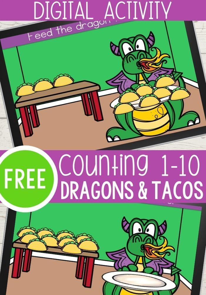 Dragons Love Tacos Digital Counting 1-10 Activity