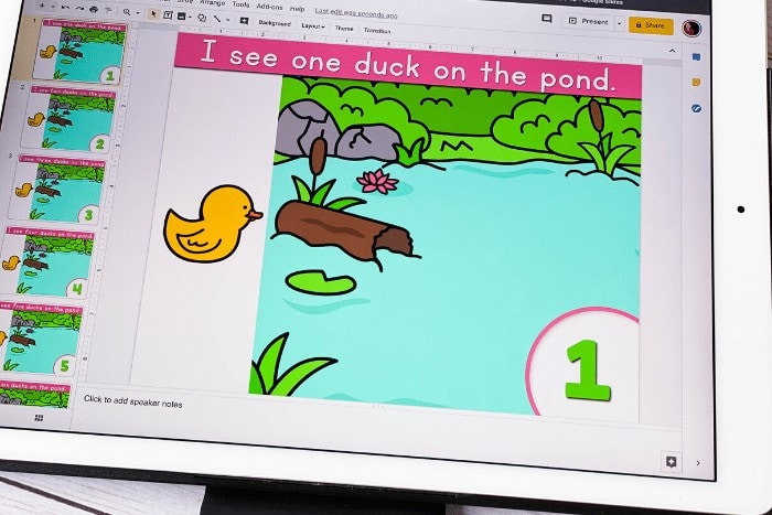 Free duck counting activity for preschool. Practice counting to 10 with this fun free digital activity for Google Slides and Seesaw. Perfect for preschool math centers, homeschooling and distance learning.