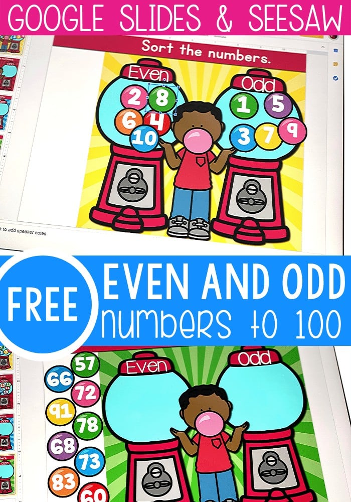 Free even and odd numbers activity for numbers to 100. Practice sorting even and odd numbers with these fun Gumball themed Google Slides and Seesaw activities.