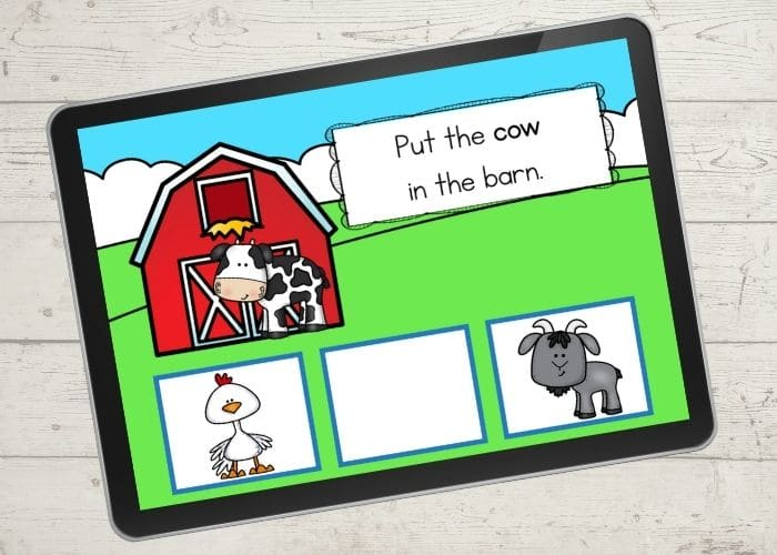 Farm Animal Activities digital slide for the animal
