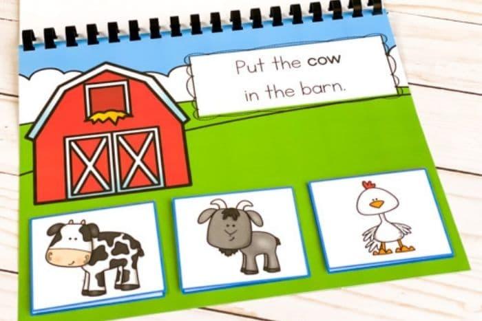 The printed farm animal matching activity printable for
