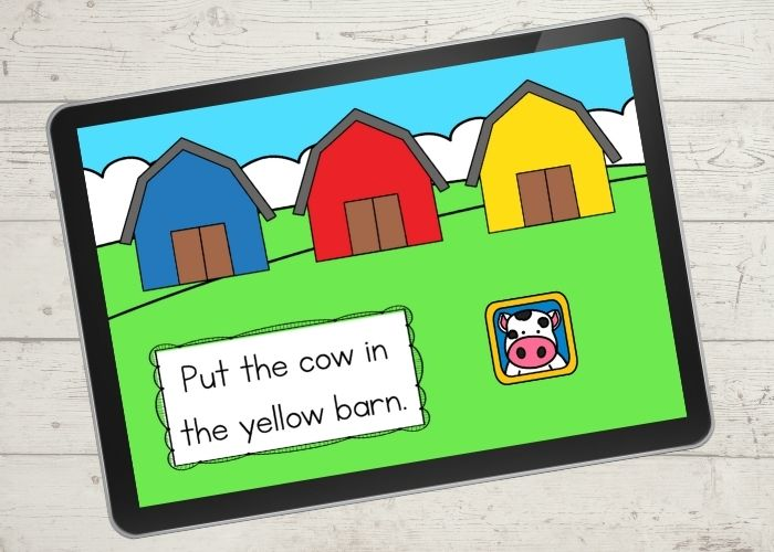 Farm Theme Color Matching Activities digital slide for the color yellow.